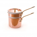 MAUVIEL 2703 - Collection M'tradition - Bain marie en cuivre et porcelaine monture bronze